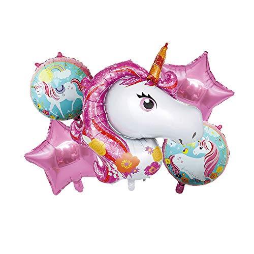 NOBRAND Globo Unicornio + Estrella, Decoración Boda Aniversario, Globo de Cumpleaños Fiesta Suministros Decoración Globo Party, SE Puede INFLAR con Helio