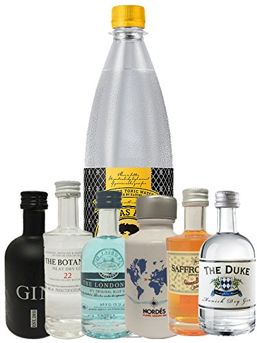 Nordes Gin 5cl + Botanist 5 cl + Duke 5 cl + London Blue 5 cl + Saffron 5cl + Black Gin 5cl, 1 Liter Thomas Henry Tonic