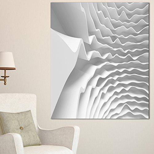 Designart PT9371-30-40 Fractal Curved White 3D Waves-Abstrakt Art Leinwand Druck - 30x40