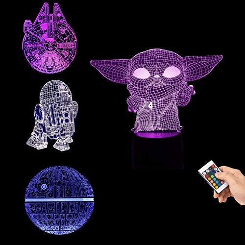 LOYALSE Star Wars 3D Illusion Lampada, 4 Motivi e 16 Modifica dei Colori per Decorazione della Camera da Letto