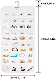 Earring Organizer, Dual-Sided 80-Pocket Hanging Jewelry Organizer Storage Display Necklace Earring Ring Pouch Pocket,...