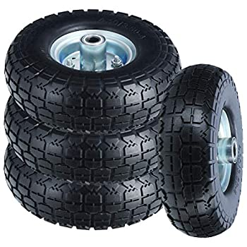 10  Flat Free Tires Solid Rubber Tyre Wheels,4.10/3.5-4 Air Less Tires Wheels with 5/8  Center Bearings,for Hand Truck/Trolley/Garden Utility Wagon Cart/Lawn Mower/Wheelbarrow/Generator,4 Pack Black
