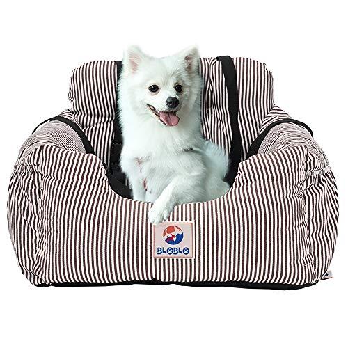 BLOBLO Sitzerhöhung für Hunde,für Kleine bis Mittelgroße Hunde mit Einem Gewicht unter 16kg,mit Seitentasche und Hundeleine, Abnehmbarer und Waschbarer Haustier Sitzbezug,Hunde Auto Reisebett (Kaffee)