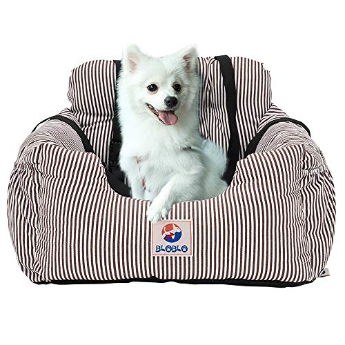 BLOBLO Dog Car Seat Pet Booster Seat Pet Travel Safety Car Seat Dog Bed for Car with Storage Pocket (Coffee Stripe) Alaska