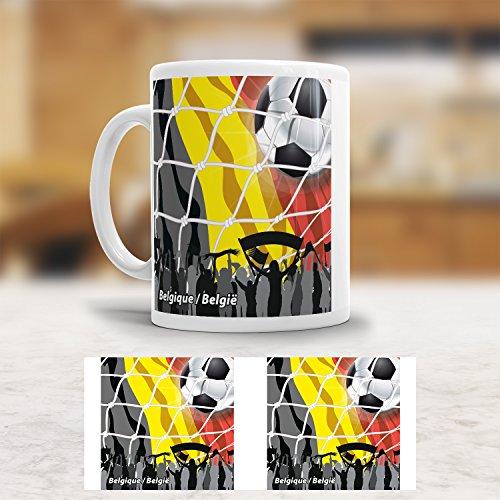 ADDIES mok WK België/Belgique. Mooie bedrukte koffiemok met de vlag van België. Hoogwaardig afgewerkt.