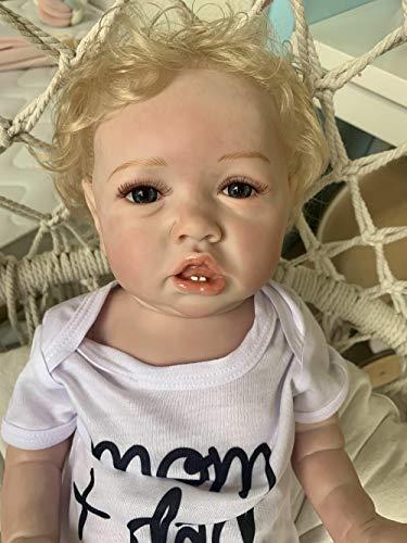 iCradle Reborn Baby Dolls 22 Zoll Zwillinge Babys Lächeln realistische wiedergeborene Babypuppen Weiches Silikon Vinyl Kleinkind Magnetischer Mund Mund öffnen (Boy)