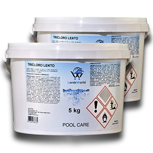 LordsWorld Pool Care - 10Kg (2 X 5Kg) Cloro Tablets disolución Lenta...