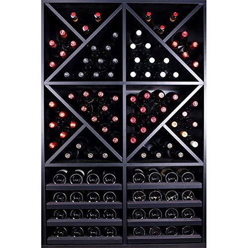 ZonaWine - Mueble Botellero Moderno 112 Botellas en Madera Negra. Combina estanterías y divisiones. Mide 126/84/42 cm Fondo