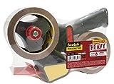 Scotch BP974 Heavy Dévidoir de ruban d'emballage avec 2 rouleaux de ruban 50 mm x 66 m