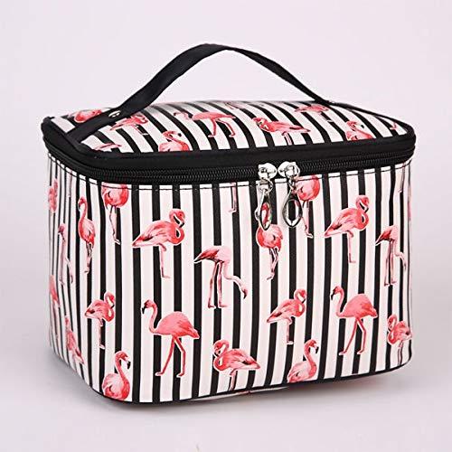 Kosmetiktasche damen Damentaschen Netter Flamingo große Kapazitäts-Kosmetiktasche aus Nylon wasserdichter Spielraum Kulturaufbewahrungstasche Make-up Tasche Kosmetiktasche (Color : Flamingo black)