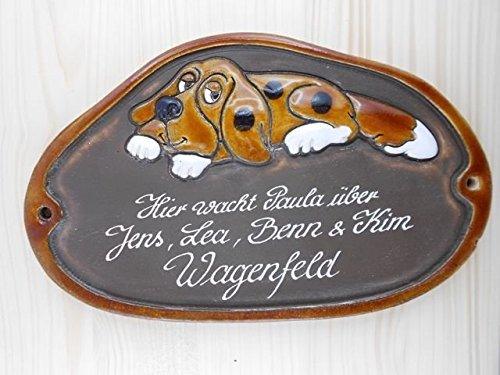 Türschild Keramikschild großer Hund wetterfest mit Gravur Keramik Haustürschild