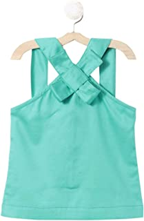 Piccolo by Hopscotch Girls' Cotton Top with Skirt in Turquoise Colour