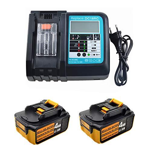 Ersatz 3A Ladegerät mit 2X Akku 18V 4.0Ah für Makita Baustellenradio DMR100 DMR110 DMR112 DMR115 DMR108 DMR107 DMR109 DMR101 DMR103B DMR104 DMR105 DMR106 DMR102 BMR100 Radio Batterie
