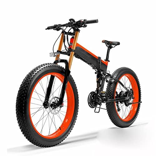 HMEI Bicicleta eléctrica de Nieve para Adultos 1000W 48V 26 Pulgadas neumático Gordo Bicicleta de Arena eléctrica Plegable, Sensor de Asistencia de Pedal de 5 Niveles Ebike