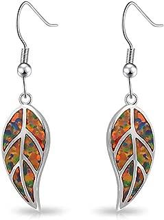 CiNily Opal Leaf Dangle Earrings-Created Fire Opal 18K White Gold Plated Drop Earrings for Women Jewelry Gemstone Dangle Earrings 1 5/8