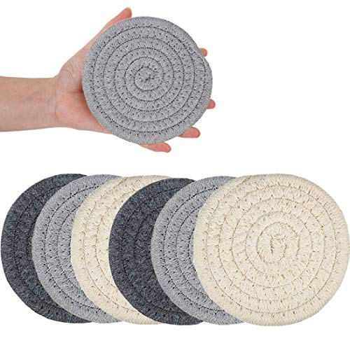 Coasters for Drinks, Handmade Braided Drink Coasters, Set of 6 (4.3 Inch, Round, 8mm Thick), Super Absorbent Heat-Resistant Coasters for Drinks, Great Housewarming Gift (SET 2)
