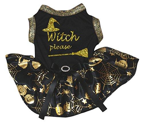 Vestido de bruja para perro, color negro y dorado.