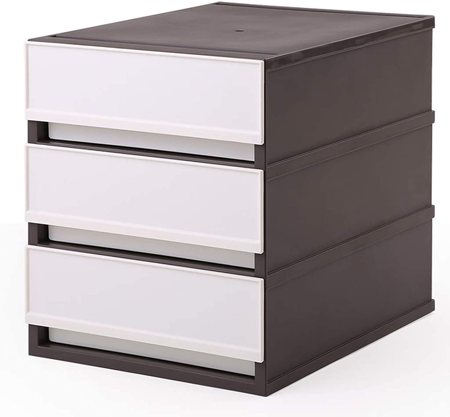 LITING Storage Cabinet Office Drawer File Cabinet Desktop Storage Box Three Layers (color   Coffee)
