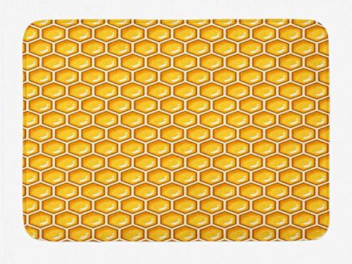 Tappetino da bagno al miele, motivo geometrico simmetrico a forma di alveare esagoni a nido d'ape continuo, soffice tappetino da bagno con rivestimento antiscivolo, guscio d'uovo senape e cannella