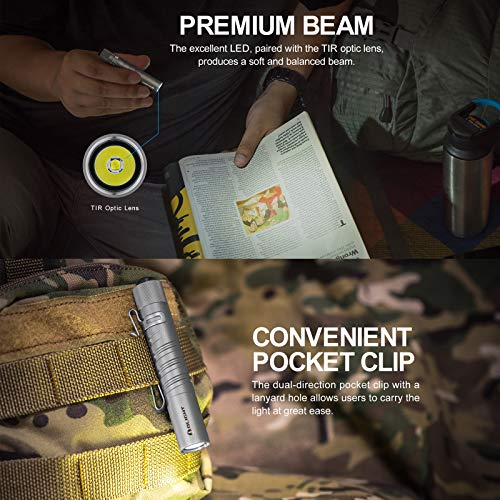 Olight I3T EOS Mini Torch 180 Lumens Cool White LED Portable Pocket Lights Small Torches Flashlight Light for Outdoor Home, with AAA Battery + Tidusky Battery Box (Titanium)