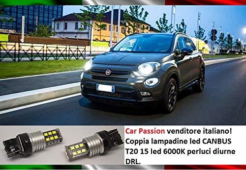 COPPIA LUCI DIURNE DRL 15 LED T20 W21/5W CANBUS 6000K 100% NO ERRORE LAMPADE LAMPADINE SPECIFICHE ALTA QUALITA' BIANCO GHIACCIO