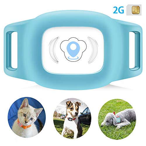 BARTUN GPS Pet Tracker, Cat Dog Tracking Device with Unlimited Range (Blue)