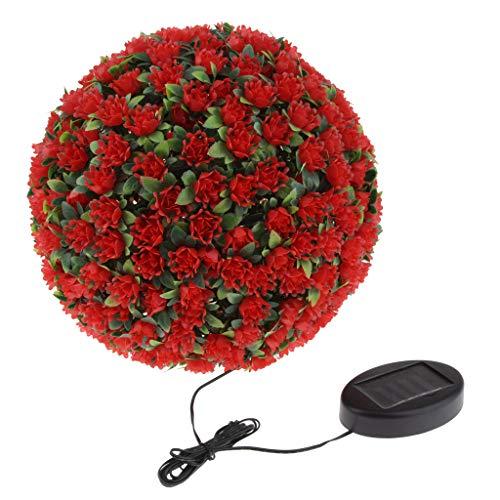 Homyl Lumières de Boule de Fleurs solaires LED décorative Suspendue - Rouge