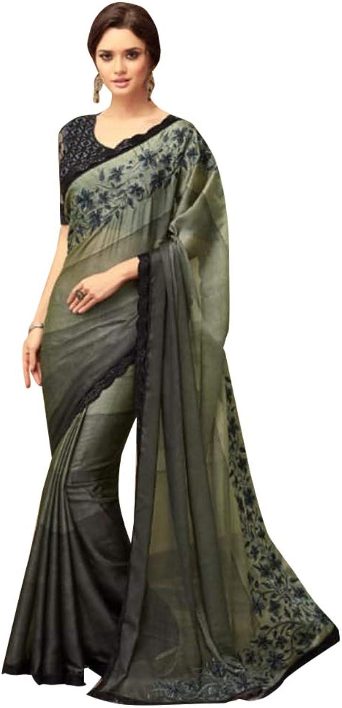 Bollywood Stylish Designer Olive Satin Sari with Net Blouse for Women Evening Cocktail dress Indian Saree 7584