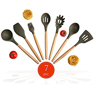 Silicone Kitchen Utensil Set. 7-Natural Acacia Wooden.Spatula Set.Spoon Set. Silicon Cooking Utensils With Spatula, Soup Ladle, Spaghetti Spoon.Kitchen Tools Gadgets