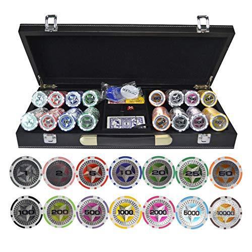 MARYYUN 200,300,400,500PCS/Set Casino Texas Hold'em ABS Fichas de póquer con maleta de cuero Casino Fichas de póquer fichas de poker (Color: 400pcs)