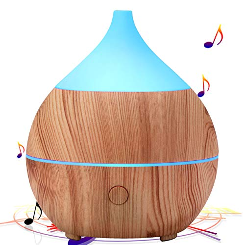 PriBuy Aromatherapy Essential Oil Diffuser with Bluetooth Speaker,Cool Mist Ultrasonic Humidifier with Soft Color-Changing Lights,Waterless Auto Shut-Off,200mL Diffuser for Home/Baby Room/Yoga Spa.