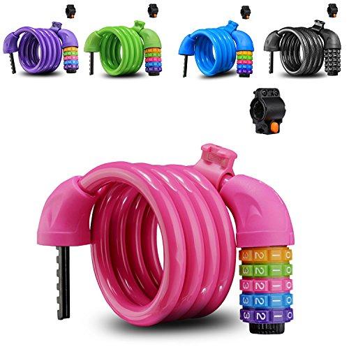 Bunt Fahrradschloss Zahlenschloss, Hohe Sicherheit 5 Stelliges Kabelschloss mit Halterung »Kinder Spiralschloss, 110 cm lang« (Rosa)