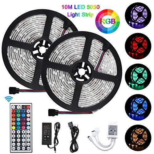 10M Tiras LED 5050 RGB, Akapola Tiras de Luces LED Iluminación con 12V 300 LEDS, Control Remoto de 44 Claves, Impermeable IP65, Adaptador Para Fiestas Decoración/Luz Ambiental