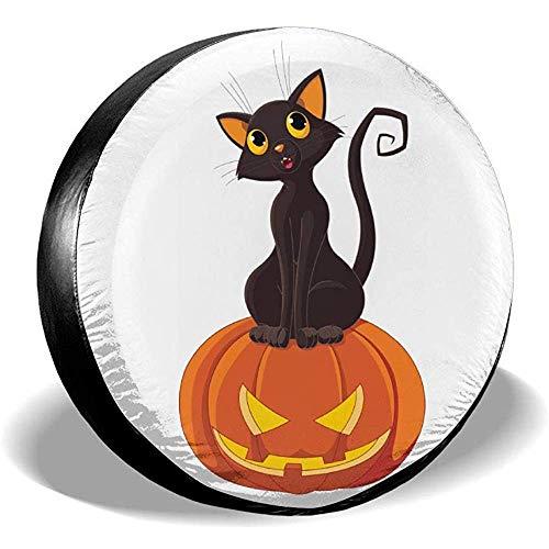 Halloween Katze auf Kürbis Reserverad Reifen Abdeckung Geländewagen Reifen Abdeckung Reserverad Abdeckung für Anhänger, Wohnmobile, Geländewagen, LKWs usw.