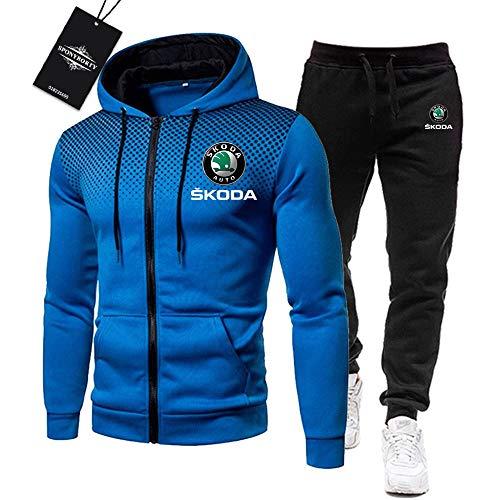 MAUXpIAO Herren Trainingsanzug Einstellen Joggen Passen Sko-da Kapuzenpulli Zip Jacke + Hose Sport R Fitnessstudio/blue/L