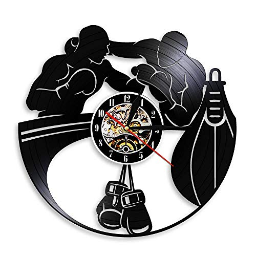 Colorful Boxing Fighting Sports Gym Decor Vinyl Record Wall Clock Boxing Gloves Punching Bag Infighters Wall Watch Boxers Scrappers Gift 12 Inches