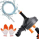 Drain Augers, lolozest Drainage Pipeline Clog Cleaning Tool, 25-Ft Plumbing Snake Hair Removal Tool with Drill Adapter, Use Manually or Powered for Kitchen Bathroom Bathtub Shower Sink with Gloves