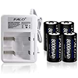 PALO Charger with Batteries - 2Bay AA AAA C D Battery Charger