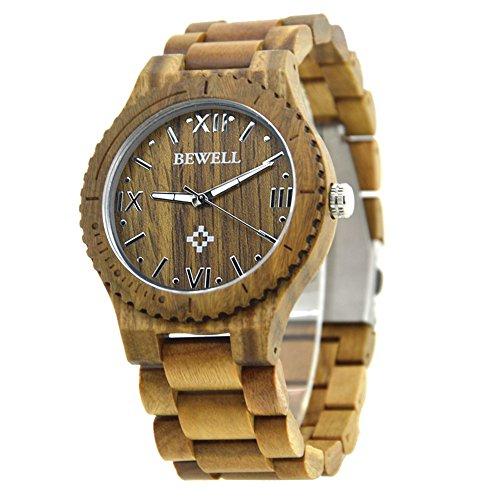BEWELL Men's Wooden Watch aus leichtem Retro Natural Wood, handgemachte hölzerne Uhren mit Box passend für Father's Day Gift (Green)