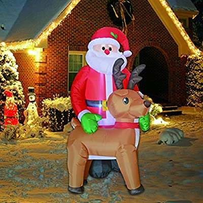 Inflatable Christmas Santa and Reindeer with LED lights inside