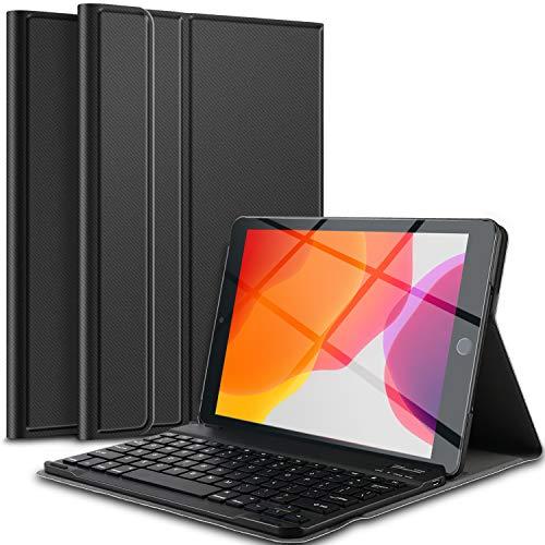 IVSO Tastatur Hülle für iPad 10.2 2019, [QWERTZ Deutsches], Ultradünn Ständer Schutzhülle mit magnetisch abnehmbar Wireless Tastatur für iPad 10.2 2019(iPad 7. Generation), Schwarz