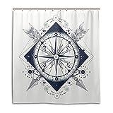 CPYang Duschvorhänge Kompass Pfeile Muster Wasserdicht Schimmel Resistent Bad Vorhang Badezimmer Home Decor 168 x 182 cm mit 12 Haken