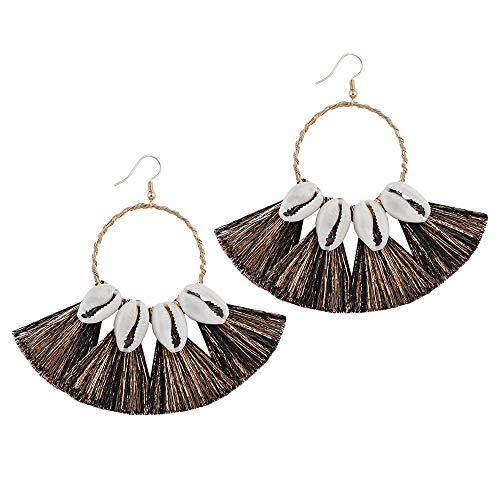 Fransande Pendientes de borla para mujer – Pendientes bohemios con flecos de aro de abanico, pendientes de gota con concha negra