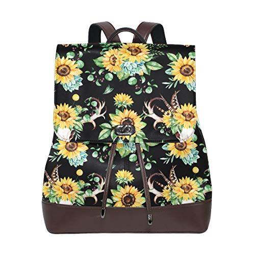 Ahomy Damen Rucksack aus Leder, Wasserfarben, Sonnenblume, Totenkopf, Federn, Blätter, Horn, wasserdicht, Diebstahlschutz, modisch, für Schule und Freizeit