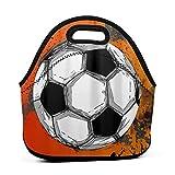 ADONINELP Bolsa de almuerzo Bolsa portátil Bento,balón de fútbol grunge,paquete de neopreno con cremallera para la escuela,el trabajo,la oficina,el bolso de viaje