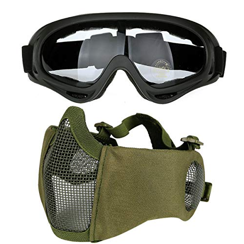 COZYJIA Tactical V10 + Mascarilla y UV400 X400 Gafas, Media mascarilla Plegable Ajustable con Protector de Oreja, Airsoft X400 A Prueba de Polvo a Prueba de Viento para Wargame Tactical Airsoft(OD)