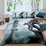 Cartoon Film Devil Dragon Duvet Cover Set Queen for Kids Adult Bedroom Archaeopteryx and Microraptor Soft Comforter Quilt Cover Mysterious Castle Bedspread Cover Bedroom Collection 3Pcs Bedclothes