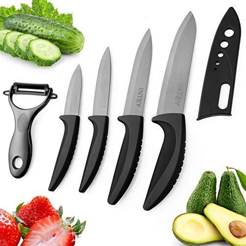 Cuchillo de Cerámica Set, Cuchillo Cocina Cerámica,Juego de Cuchillos, Cuchillo Cocina Set, 4 x Cuchillos, 1 x Pelador Estuche Protector de Goma, Mango ergonómico, Resistente a la Corrosión