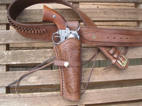 Shotgun Lilli Western Gunbelt Tooled Holster Combo - 22 Caliber - Leather - Brown (52', Right)