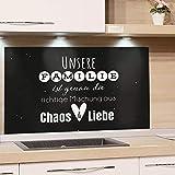 GRAZDesign Wandpaneele Küche Familienspruch, Fliesenspiegel Küche Küchenspruch, Glasrückwand Küche Küchenmotiv, Küchenrückwand Glas Schwarz / 100x60cm